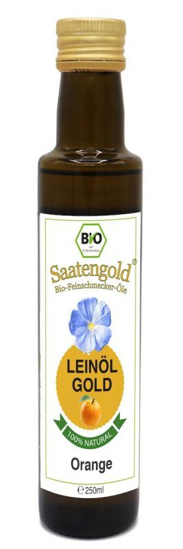 Saatengold-Bio-Feinschmecker-Öle Leinöl Orange
