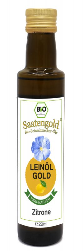 Saatengold-Bio-Feinschmecker-Öle Leinöl Zitrone