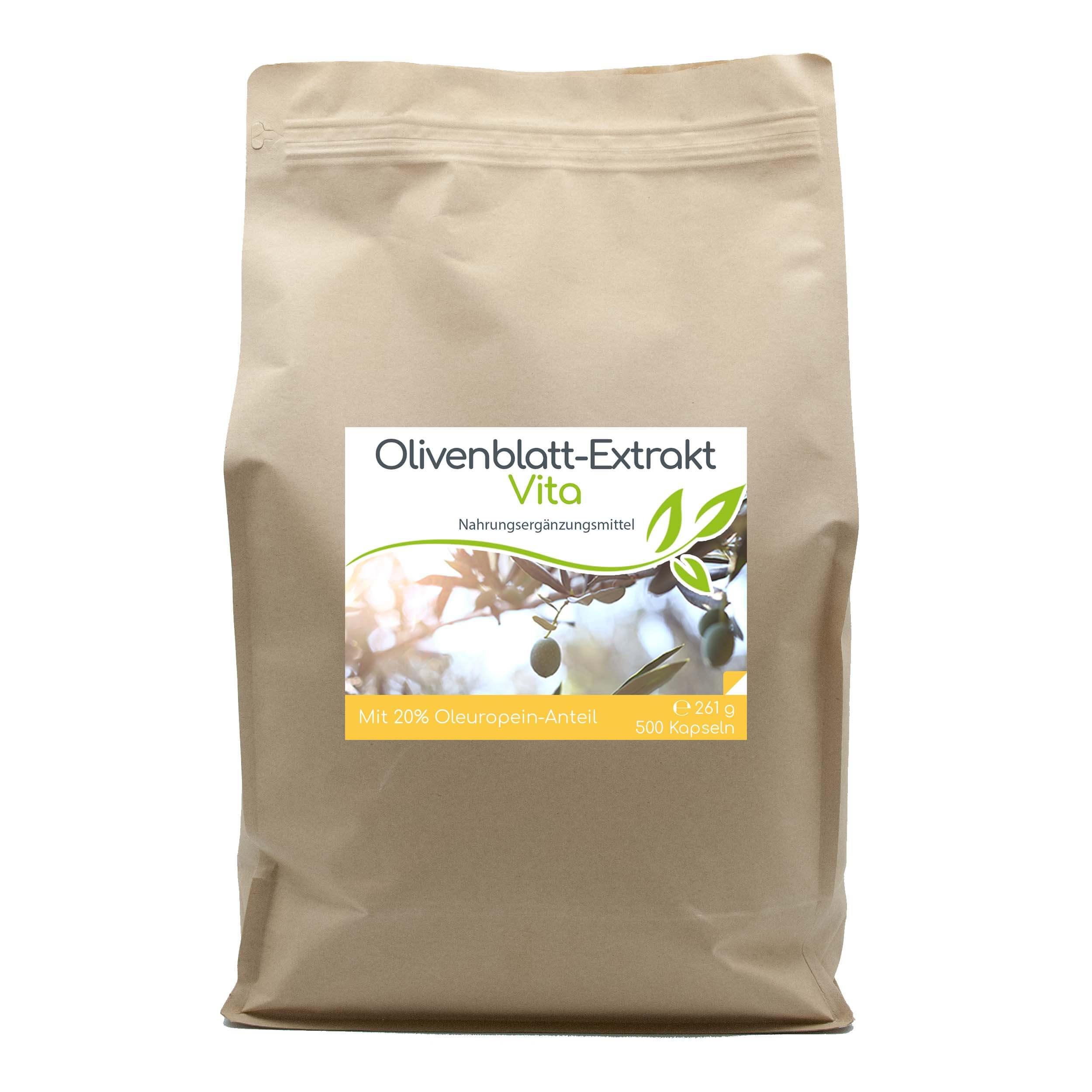 Olivenblatt-Extrakt Vita mit 20% Oleuropein-Anteil | 500 Kapseln Vorratsbeutel